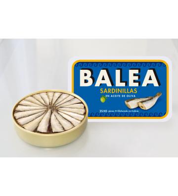 Espectacular abanico de sardinillas donde encontrarás entre 35/45 piezas de Balea bañadas en aceite oliva