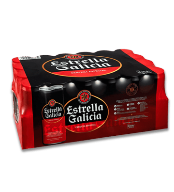 Cerveza Estrella Galicia Pack 24 latas 33 cl.