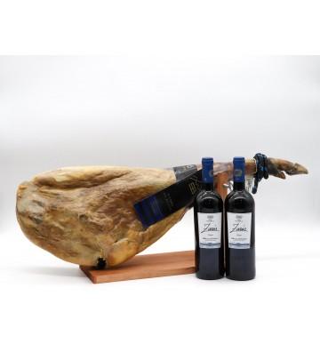 """Exquisito Jamón de sabor dulce con 2 botellas de un fantástico vino con D.O. Ribera del Duero """"Zarús"""""""